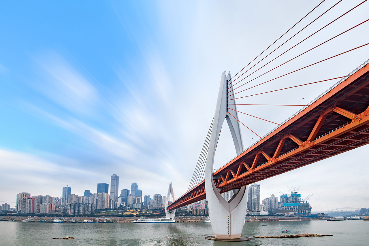 cityscape and skyline of chongqing in cloud sky